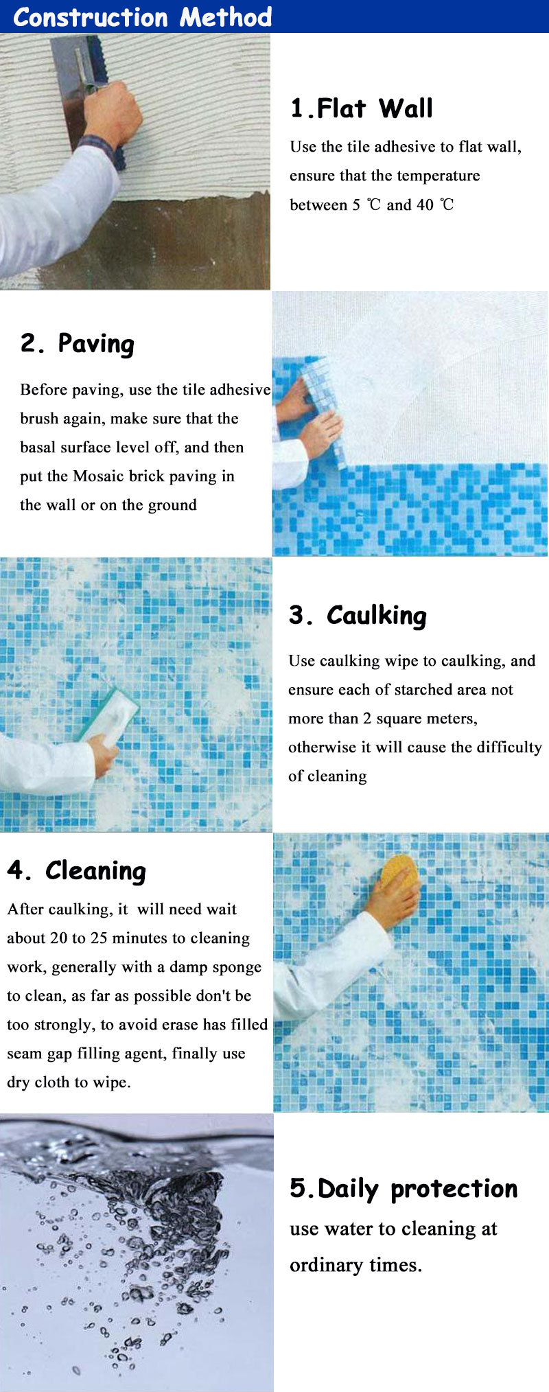 48*48mm blue ceramic mosaics crystalline tile pool tile miami