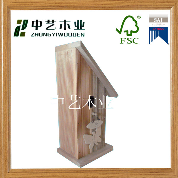 FSC solid Scots Pine Keep rain out Slant proof birdhouse bird house wholesale