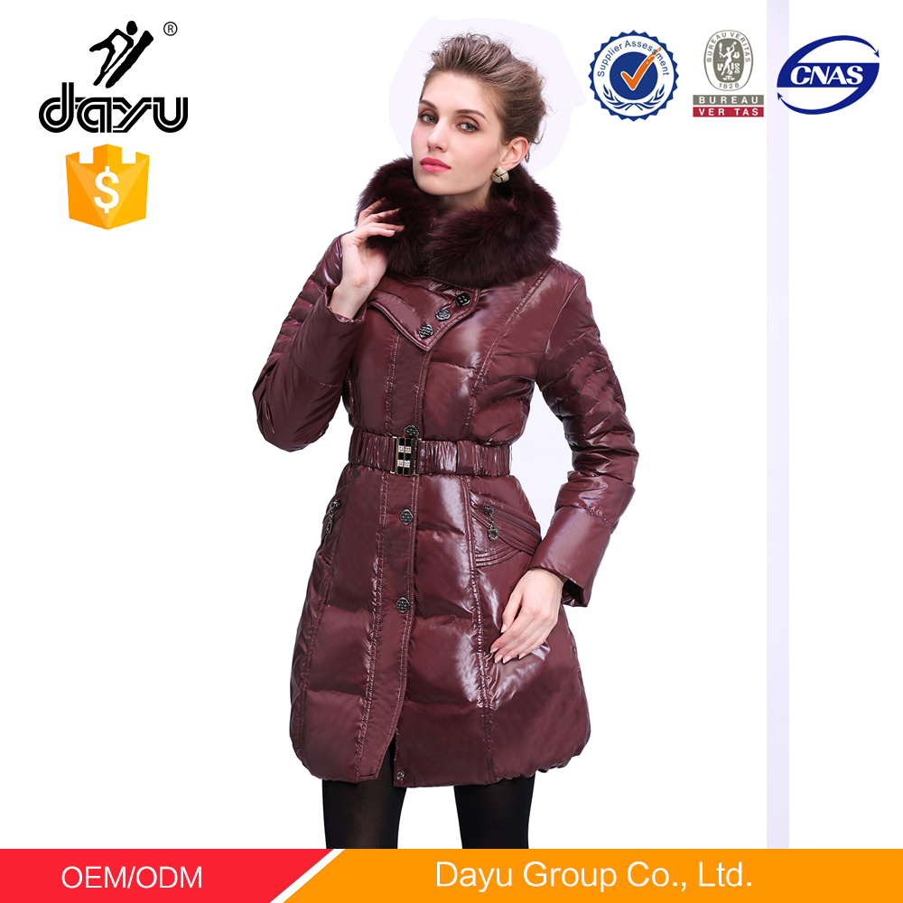 Custom Made lady fancy woman winter duck down jacket fox fur down coat jacket for winter