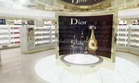 Wooden display shelves for Dior famous cosmetics brand retail store interior designs