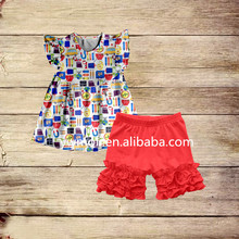new arrival smocked children clothes pencil pattern dress match ruffle shorts baby girl back to school summer outfit