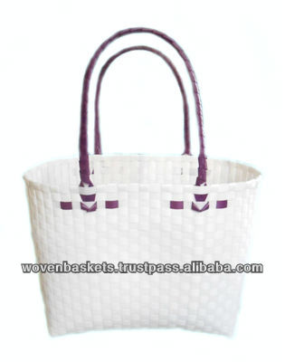 Cheap Woven Baskets Shopping weaving Bag(ATM-F6) with White or Colorful made from Plastic Straps Polypropylene pp