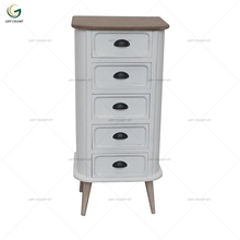 French Provincial 5 Drawers Antique White Paint Narrow Tall Drawer Cabinet