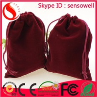 Custom printed velvet drawstring pouch fabric gift bags wholesale