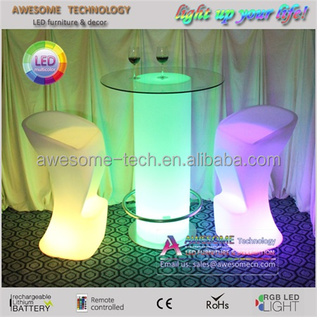 led glow Circular Glass Top bar Table with footrest for events