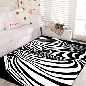 Carpet Home Textile Luxury European Style Animal Zebra Black White Stripe Classic Custom Area Rug