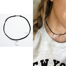 Fashion fake silver crescent moon necklaces womenn delicate design adjust choker necklace