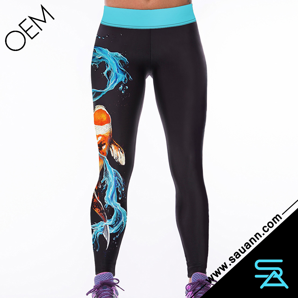 Hot Sale Water Fish Print Workout Women Tights