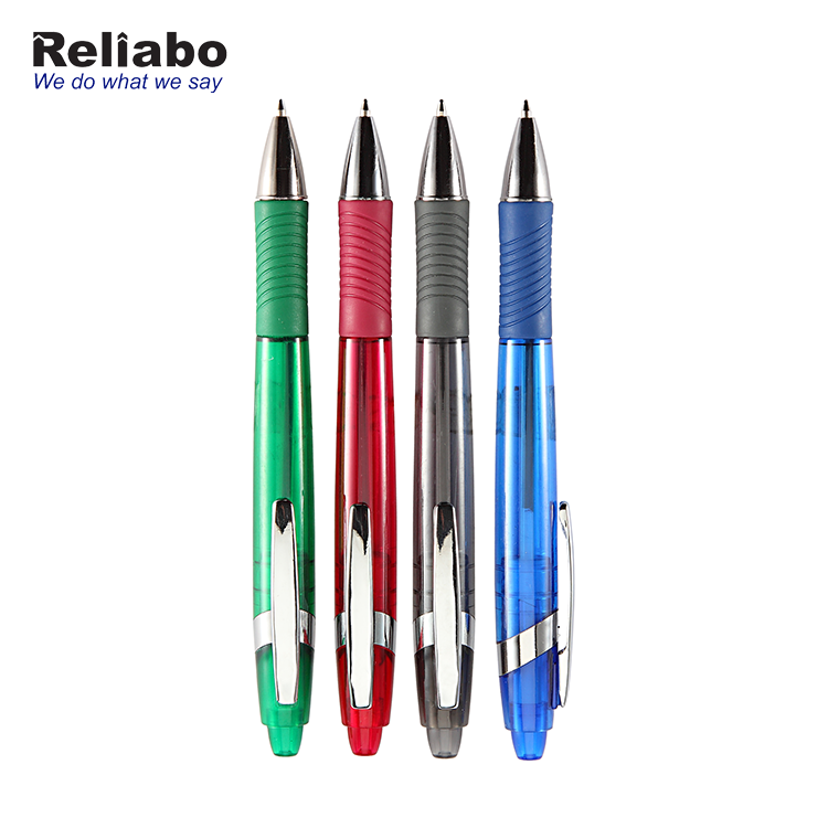 Reliabo China School Stationery High Quality Transparent Plastic Ball Point Pen For Promotion