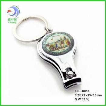 2012 Hot Jerusalem souvenir Silver plated Epoxy logo Nail Clipper set Key Chain with bottle opener (KCIL-0067)