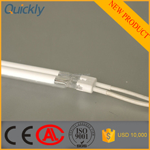 Halogen infrared heating element with techinic support