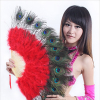 10 Colors High Quality Stage Performance Props Feather Folding Hand Fans Belly Dance Peacock Feathers Fans for Dance