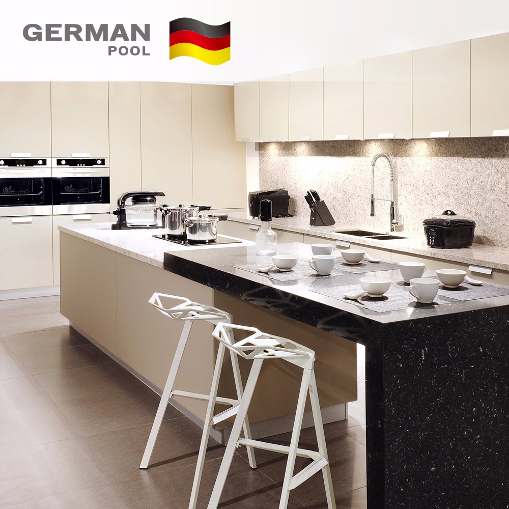German Pool Manufacturer Classical Luxury Shape Laminate Solid UV for Hotel modular Wood kitchen cabinet
