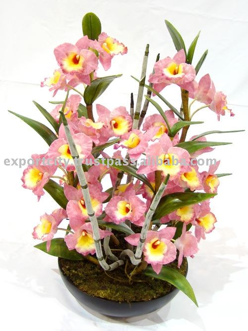 Artificial flowers plant, setting and stem (orchid)