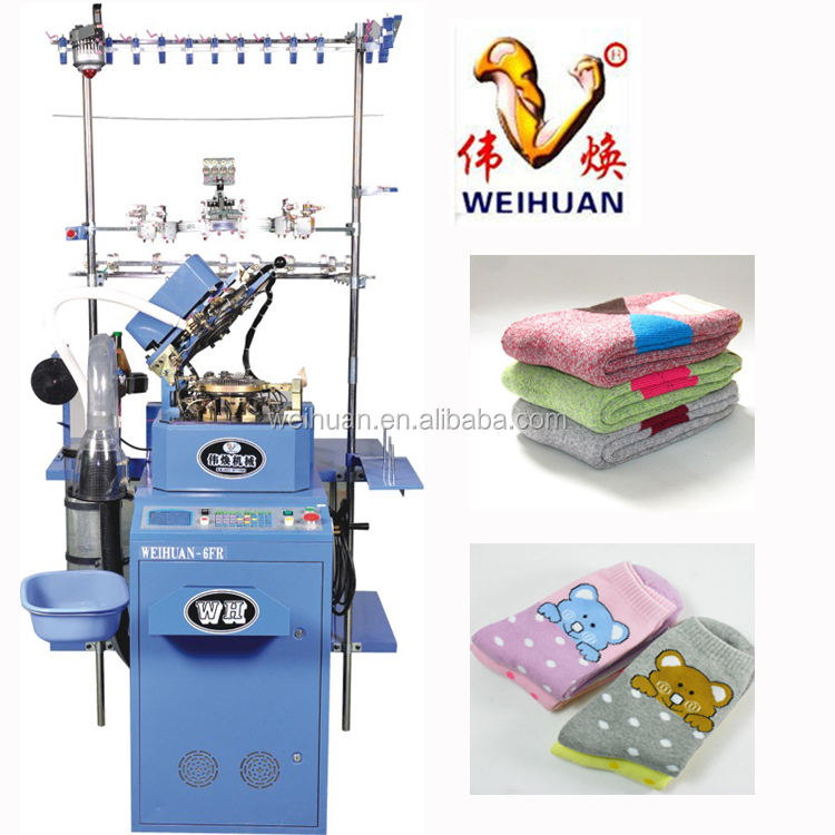 WH-6F-D full computerized plain and terry socks knitting machine