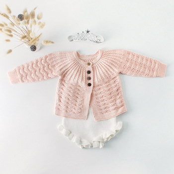 spring hot sale fashion toddler girls baby knitted sets