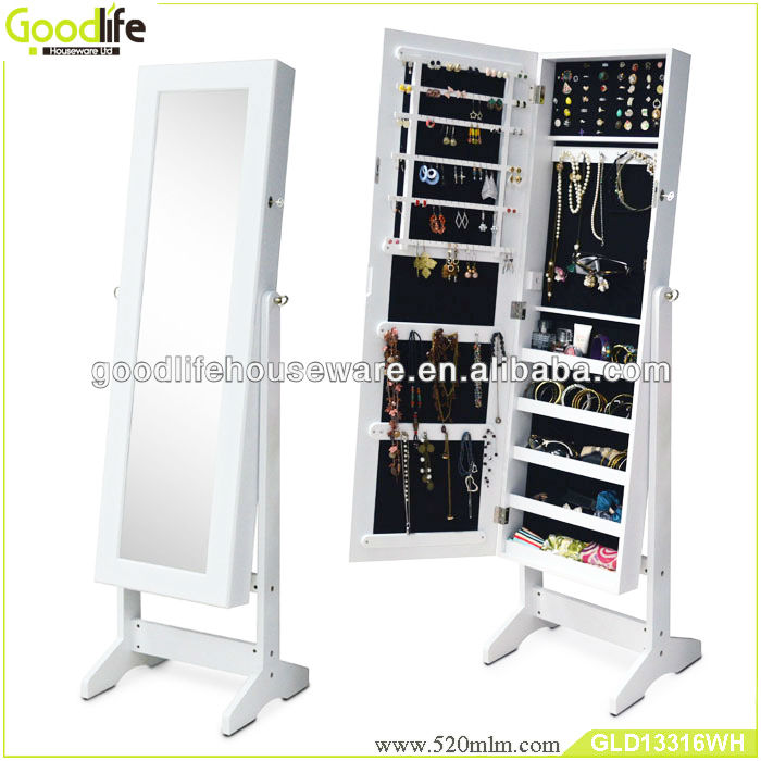 Living room furniture floor standing mirrored jewelry cabinet GLD13316 from goodlife