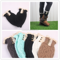 Women Crochet Knitted Boot Cuffs Toppers Button Lace Leg Warmers