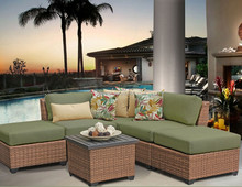 modern outdoor patio rattan furniture matching ottoman and square center table l shape sofa with recliners