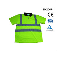 Wholesale Summer Vest Reflective Safety Lime Short Sleeve T-shirt for Man