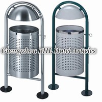 Wholesale Outdoor Stainless Steel Garden Waste Bin Decorative Recycling Bin Outdoor Rubbish Container Stainless Trash Can