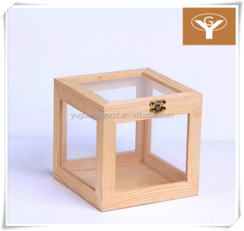 top open trasparent glass lid fine wood storage box 4 side transparent