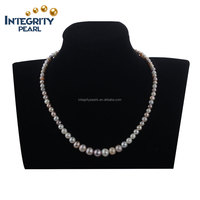 16inches 3-9mm good design near round new fashion pearl long necklace 925