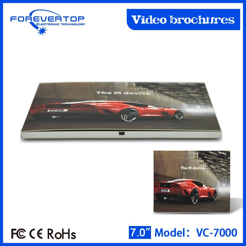 Artifical type new invitation card 2.4 inch lcd video brochure