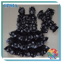 Spider Web and Black Chiffon 2014 Baby Frock Designs Princess Flower Girl Dress Summer Dress With Mtaching Leg Warmer Set