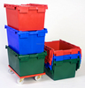Stackable, high-density polyethylene (HDPE) plastic moving crate 600*400*350