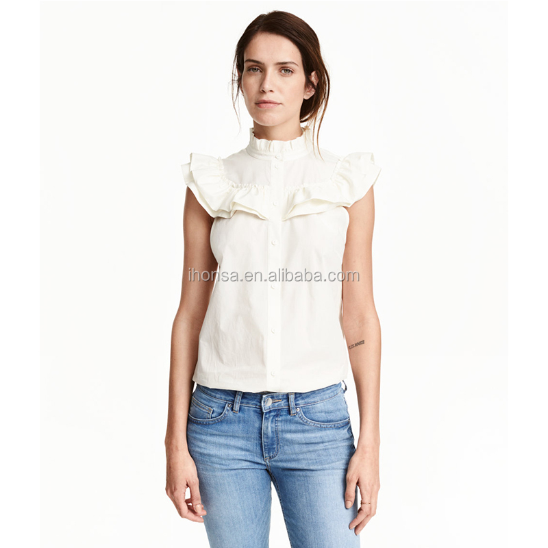 New Fashion Women Stand Up Collar Flared Blouse Ruffled Cotton Blouse HSB9646