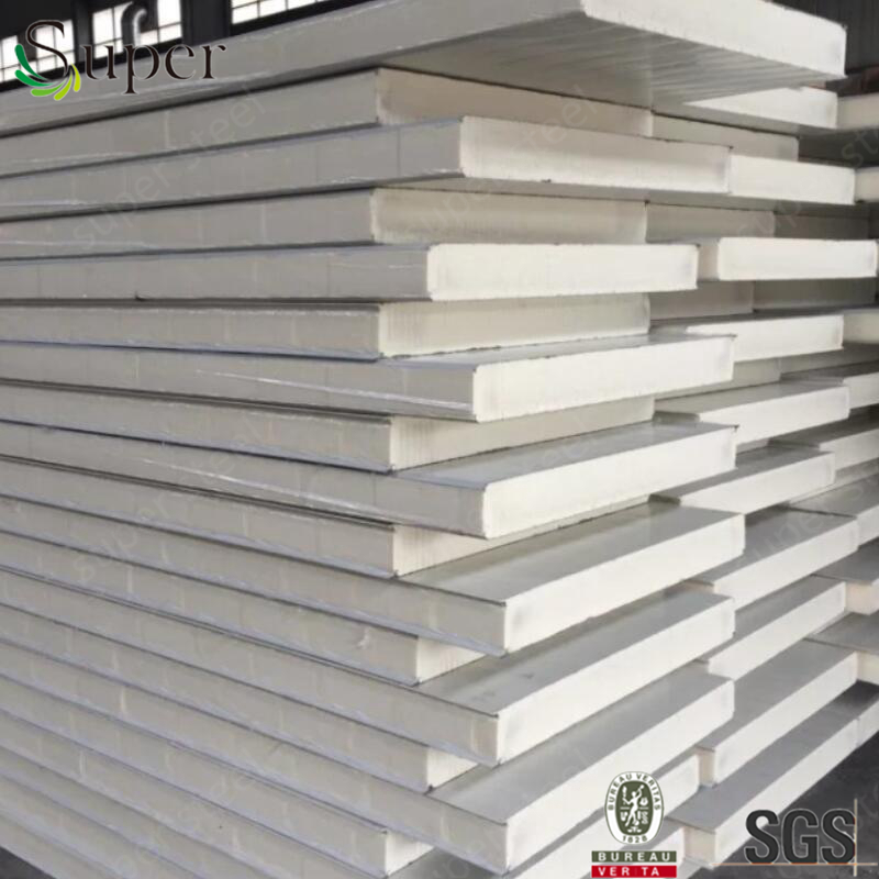100mm Europe PU /polyurethane decorative sandwich wall/roof panel for industrial building