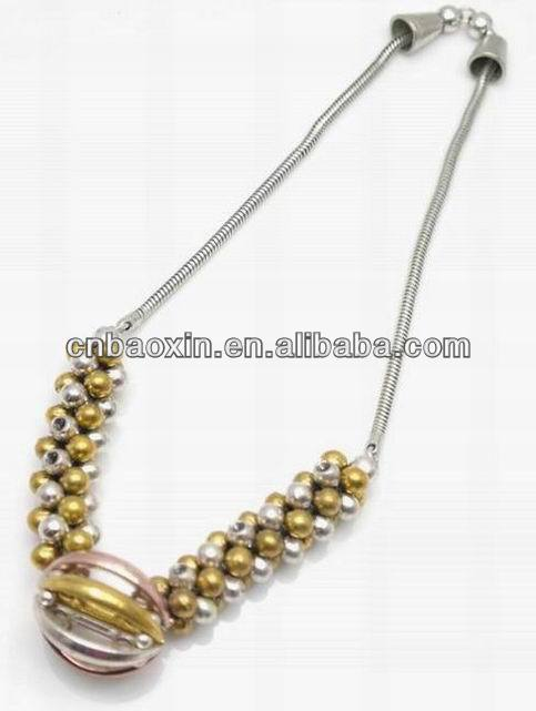 2013 Fashion Gold Ball Silver Metal Necklace