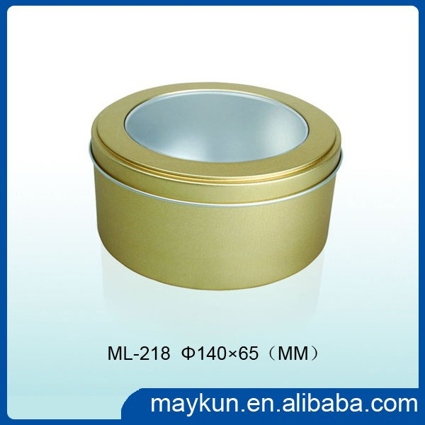 Gold supplier wholesale round packaging tin box with clear pvc window