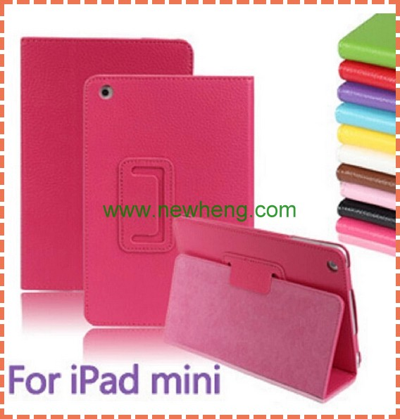 Litchi PU Leather Case for iPad mini Lychee Grain Embossed Leather Cover