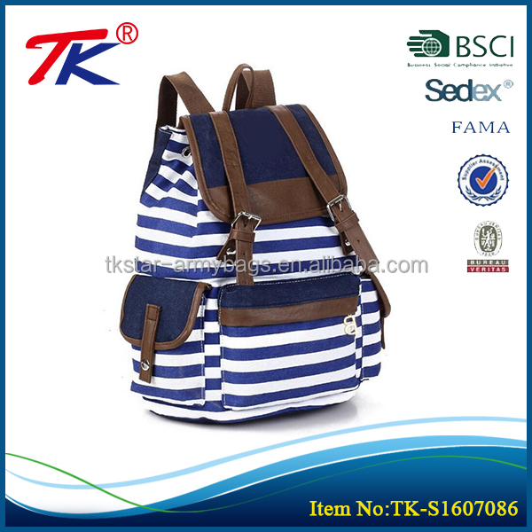 Famous brand popular ladies designer backpacks with fashion stripe design