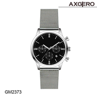 2015 new man watches products wholesale china factory watch with stainless steel mesh strap chronograph watch