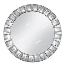 Luxury royal dinning jeweled diamond mirror charger <strong>plate</strong> with rhinestone for wedding