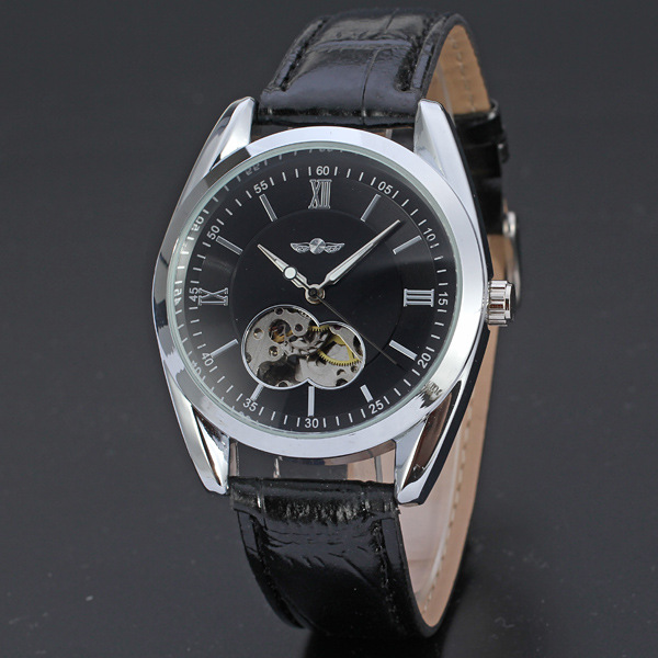 Western clock 2018 full automatic skeleton mens genuine leather strap winner watches