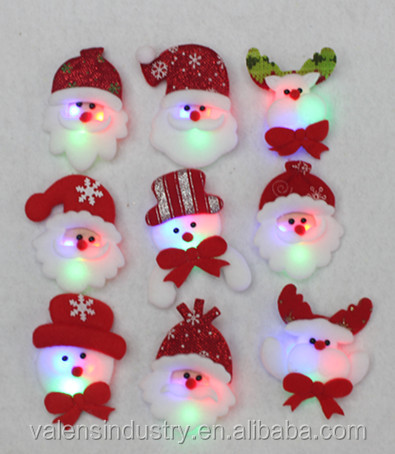 Christmas Party Favor Supply LED Light Up Santa Claus Christmas Gift Badges with Santa Claus Snowman Reindeer and Bear Decor