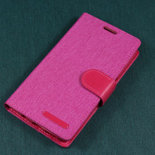 Factory Wholesale Woven PU Leather Flip Diary Canvas Wallet Leather Case for iphone 6 plus
