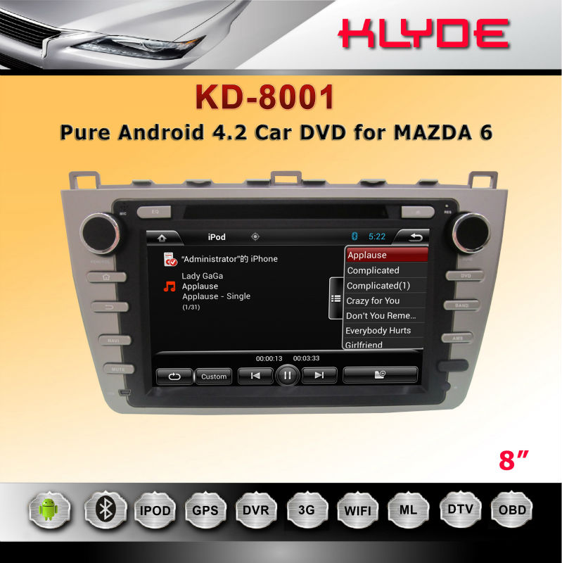 New Android 4.2 Car DVD for mazda 6 from China factory