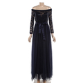 Guangzhou Party Princess Fancy Navy Blue Lace Latest Net Dress Designs