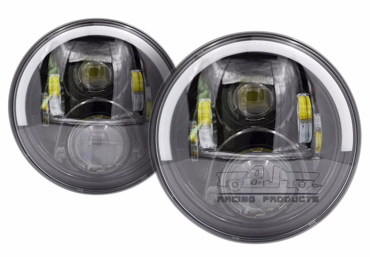 "BJ-HL-038 Round DRL 7"" LED Headlight Hi Lo Angle Eyes for Jeep Wrangler JK TJ Fog Light Lamp"