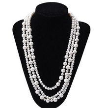5mm and 9mm graduated long style newest design chinese cultured pearl strand necklace