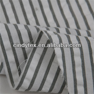 drapery soft polyester cotton yarn dyed stripe seersucker fabric