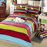 100% polyester microfiber mattress bedding set/bed cover hometextile fabric of hello kitty design