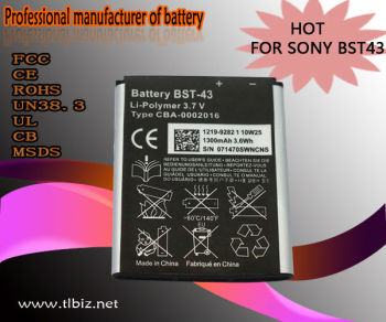Mobile phone battery for Sony Ericsson (BST-43):U100/S001/E1m/J10/J20/WT13i/J108