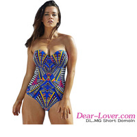 High Quality Sweetheart Bandeau Print Onepiece Bikini Swimwear 2016 Women