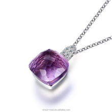 sterling silver jewelry gold plated single stone amethyst colorful gemstone silver pendant sets for girl